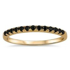 925 Sterling Silver Gold Plated Ring with Black CZ