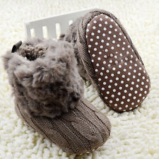 Toddler Baby Crochet/Knit Fleece Boots Girl Toddler Wool Snow Booties Crib Shoes
