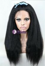 "150% Density 14""-20"" Kinky Straight Indian Remy Human Hair Lace wig baby hair"