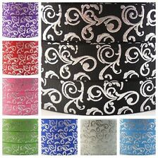 5/10/25/50/100yards 7/8'' (22mm) sliver swirl printed grosgrain ribbon hair bow