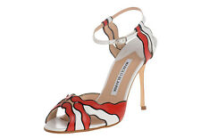 $915 New Manolo Blahnik NORF White Red Black Sandals Shoes 35 37.5 38.5 40 41.5