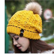Free Ship Women Girl Warm Soft Winter Baggy Beanie Knit Crochet Ski Hat Cap z20