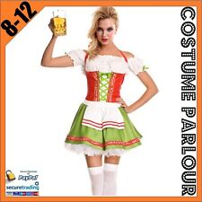 Womens German Red Green Oktoberfest Beer Maid Dirndl Ladies Fancy Dress Costume