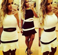 2 piece Skirt Set Crop Top and Skirt Set Suit Bodycon Party Clubwear black/white