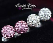 Solid 925 Sterling Silver Sparkling Ball Swarovski Crystal Stud Earrings