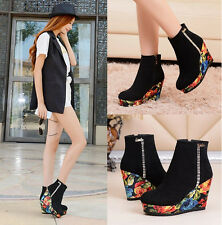 Womens Frosted Side Zipper Shoes High Heel Rhinestone Mix-Color Platform Boots