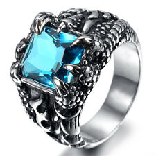 Mens Silver Dragon Claw Sapphire CZ 316L Stainless Steel Biker Ring US Size 7-13