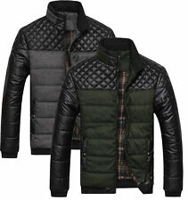 Hot Mens Winter Leather down Jacket Warm Puffer Coat Parka Slim