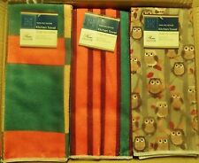 Fall Collection Polyester Kitchen Towels Fall Colors Owls Squares Stripes