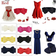 Hot Womens Chiffon Bowknot Elastic Bow Wide Stretch Buckle Waistband Waist Belt