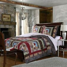 BEAUTIFUL LOG CABIN LODGE COUNTRY COTTON IVORY BLUE RED BROWN TEXTURE QUILT SET