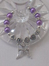 Personalised Wine Glass Charm Butterfly Weddings Hen Party Christening