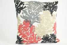 Decorative Coral, Gray, and Black Floral Pillow Cover 12x16, 16x16, 18x18