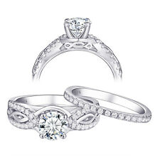 Bridal Set White Cz 925 Sterling Silver Wedding Band Engagement Ring Set Sz 5-10