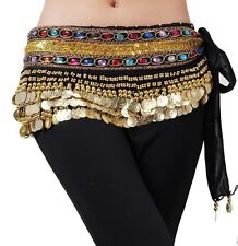 Belly Dance Belt Hip Scarf Skirt Costume Wrap Gold Coins Band Gemstone Velvet