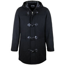 MEN GENTS DUFFLE COAT WOOL HOODED CLASSIC VINTAGE WARM WINTER LONG PADDED JACKET