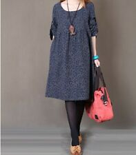 Womens Autumn Loose Leisure Long Sleeve Floral Printed Casual Dress 3 Colors