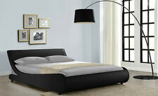 Double King Size Bed Brown Black White Faux Leather Curve Frame With Mattress