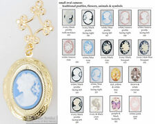 Medium oval locket, variety of inset cameos, metal connectors, necklace option