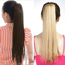 Clip In Long Straight Pony Tail Hair Extension Wrap Around Ponytail Hair Piece