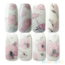 3D Embossed Pink Flowers Design Nail Art Decal Tips Stickers Sheet Manicure