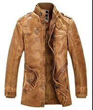 New  2014 Men's coat collar motorcycles leather jacket trench coat velvet Jacket