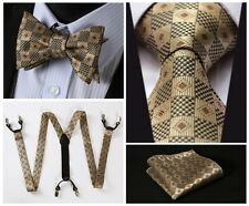 6C02Z Brown Check Silk Tie Handkerchief Suspenders Self Bow Tie Set