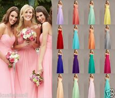 Long Simple Chiffon Formal Evening Party Ball Prom Bridesmaid Dresses Size 6-18