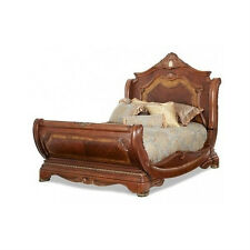 Wood Cal King Size Sleigh Style Bed Bedroom Furniture Frame Room Wooden Detail