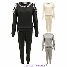New Womens Ladies Cut Out Full Tracksuit Beaded Jogging Suit Sweartshirt Pants