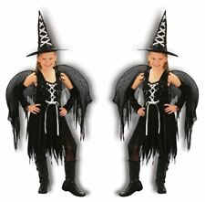 NEW WINGED WITCH GIRL COSTUME FANCY PARTY DRESS HALLOWEEN COSTUME 4-14 YEARS