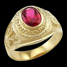 Men's Ring Solitaire Ruby 14k Yellow Gold Large Fashion Band