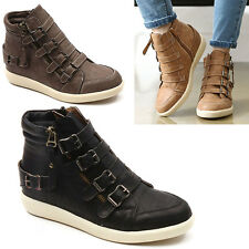 Wedge Hidden Heel Trainers Sneakers Ankle Boots High Top Buckle Zip Girls women