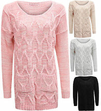 Womens Ladies Long Sleeve Two Pocket Chunky Knit Pull Over Jumper One Size 8-14