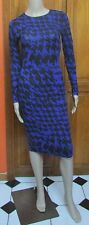 Carmen Marc Valvo Blue Black Houndstooth Long Sleeve Bodycon Dress Sz XS M L NWT