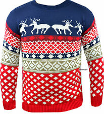 Mens Womens Novelty Retro Christmas Knitted Jumper Sweater Xmas Reindeer Size UK
