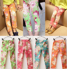 Cheap Newest Kids Toddler Clothes Girls Floral Tights Pants Trousers Sz2-7Y Hot