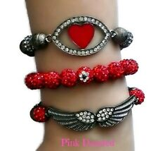 """Pave Crystal Red and Grey """"Love Angel"""" Arm Candy Set Bling Hip Hop Jewelry"""