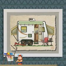 540 Expandable Hybrid Camper Wall Decor Art 8x10 or 13x19 on Watercolor Paper