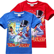 New 2-8 Years Kids Boys Tee Classic Tom And Jerry Short Sleeve T-Shirts 2 Colors