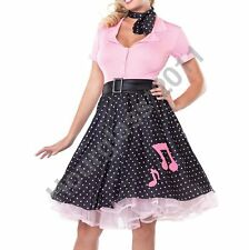 Rock N Roll1950s Grease Fancy Dress Hop Skirt Top Pink Lady Costume Sexy Outfit