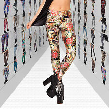 new Womens Sexy Digital Graphic Design Printed Pattern Stretch Tights Pants
