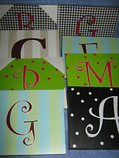 OX BAY INITIAL FABRIC LETTER WALL HANGINGS WOOD FRAME Multi Color DESIGNS $16