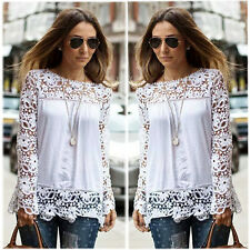 Fashion Women Sheer Sleeve Embroidery Lace Crochet Tee Chiffon Shirt Top Blouse