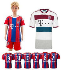 NEW Bayern 14-15 Kids Boys Football Soccer Jersey home away Suit size 16-28