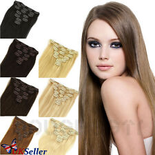 "7PCS PREMIUN CLIP IN HUMAN HAIR EXTENSIONS REMY 100% REAL FULL HEAD 15"" 18"" 20"""