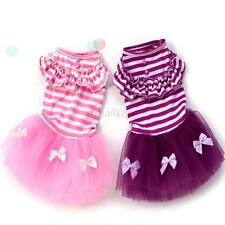 Summer Dog Cat Pet Princess Tutu Dress Stripe Lace Tulle Skirt Puppy Clothes T31