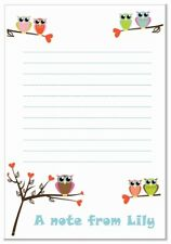 na Personalised NOTELETS lined writing paper pk 16 & envelopes, notes, A6 OWL