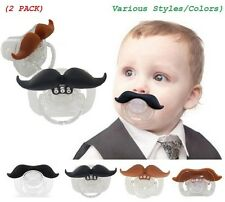 (2 PACK) The Best Mustache Pacifier - The Idea Gift For Baby With High Quality