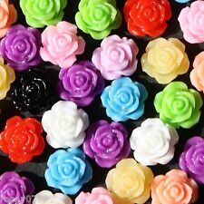20/50/100 x Available in 11 Colours! FlatBack Rose Flower Resin Cabochons 10mm